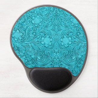Blue-Green Suede Leather Look Retro Floral Design Gel Mouse Pad
