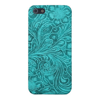 Blue-Green Suede Leather Look Retro Floral Design Case For iPhone 5