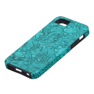 Blue-Green Suede Leather Look Retro Floral Design iPhone SE/5/5s Case