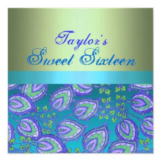 Blue & Green Sweet 16 Birthday Invitation