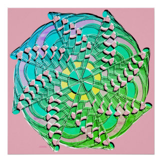 Blue Green Swirl - Poster