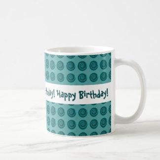 Blue-Green Swirls and Background Happy Birthday Coffee Mug