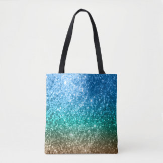 Blue, Green & Tan Glitter Design Tote Bag