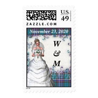 blue green   tartan save the date stamps