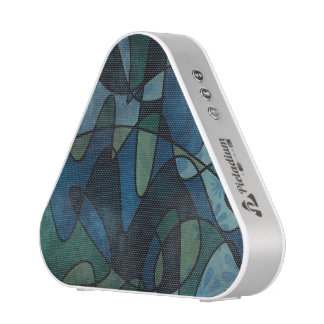 Blue Green Teal Digital Stained Glass Abstract Art Speaker