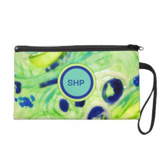 Blue Green Teal Wristlet Bag PERSONALIZE