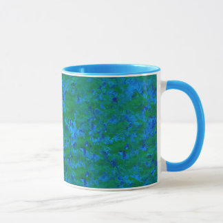 Blue Green Textures Fish in the Sea Ringer Mug