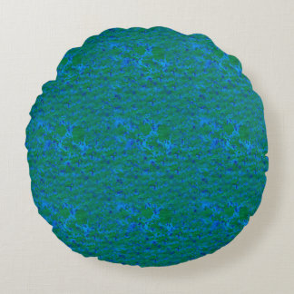 Blue Green Textures Fish in the Sea Round Pillow
