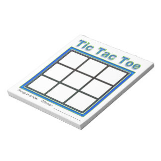 Blue Green Tic Tac Toe Game Notepad
