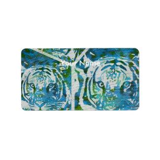 Blue Green Tiger Collage Label