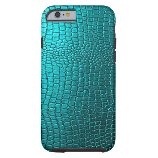 Blue-Green Tones Snakeskin Leather Pattern Look Tough iPhone 6 Case