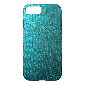 Blue-Green Tones Snakeskin Leather Pattern Look iPhone 7 Case