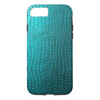Blue-Green Tones Snakeskin Leather Pattern Look iPhone 7 Case