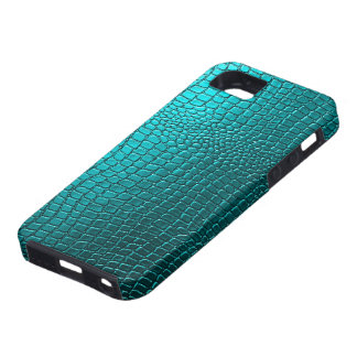 Blue-Green Tones Snakeskin Leather Pattern Look iPhone SE/5/5s Case