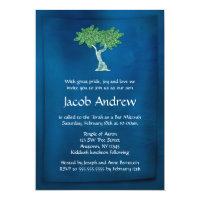 Blue Green Tree of Life Bar Mitzvah Invitations