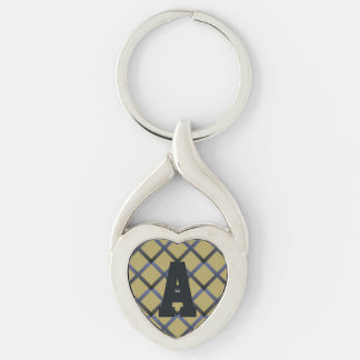 Blue Green Trellis Monogram Silver-Colored Heart-Shaped Metal Keychain