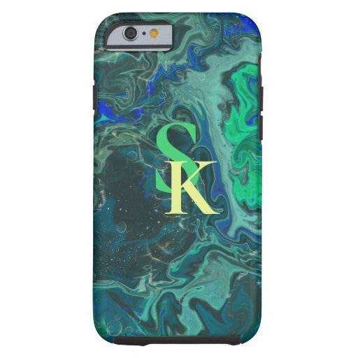 blue green trendy marbling design tough iPhone 6 case