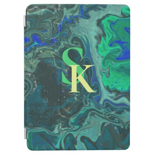 blue green trendy marbling design iPad air cover