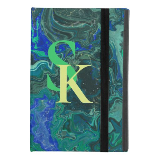 blue green trendy marbling design iPad mini 4 case