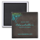 Blue Green Trendy Salon Spa Floral Fridge Magnet