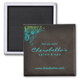 Blue Green Trendy Salon Spa Floral Fridge Magnet