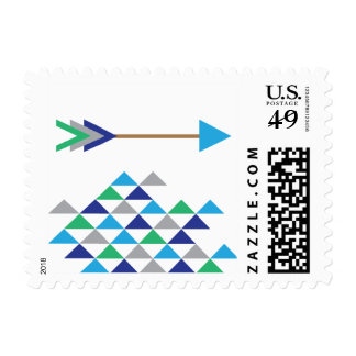 Blue & Green Trendy Tribal Postage Stamps
