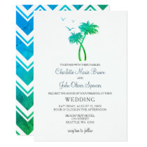 Blue Green Tropical Palm Tree Wedding Invitations