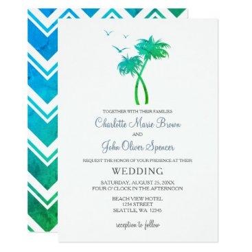 Beach Themed Blue Green Tropical Palm Tree Wedding Invitations