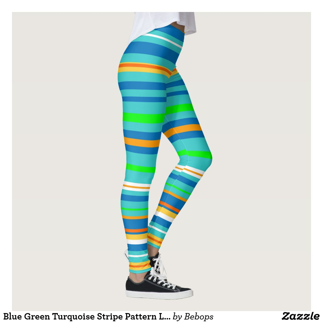 Blue Green Turquoise Stripe Pattern Leggings