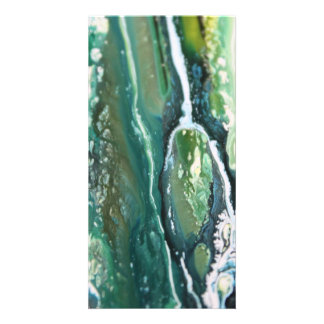 Blue green turquoise vertical abstract paint lines card