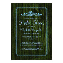 Blue Green Vintage Barn Wood Bridal Shower Invites