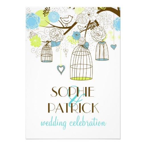 Blue & Green Vintage Birdcages Wedding Invitation