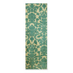 Blue green vintage damask bookmark Double-Sided mini business cards (Pack of 20)