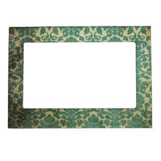 Blue green vintage damask magnetic photo frame
