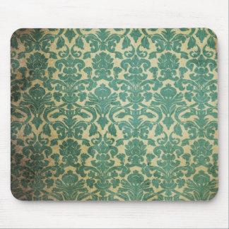 Blue green vintage damask mouse pads
