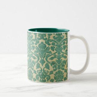Blue green vintage damask Two-Tone coffee mug