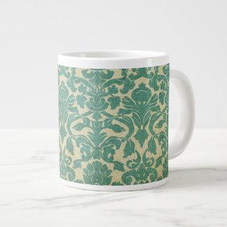 Blue green vintage damask 20 oz large ceramic coffee mug
