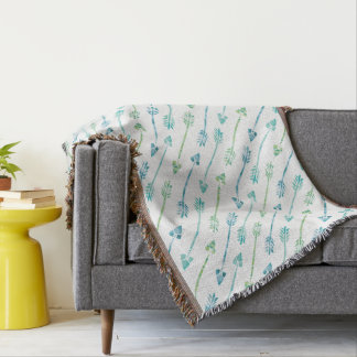 Blue Green Watercolor Arrows Patter Throw