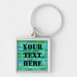 Blue Green Watercolor Background Painting Keychain