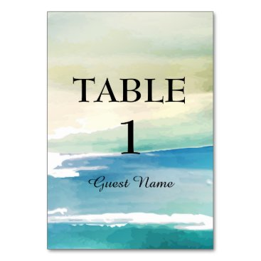 Blue Green Watercolor Beach Reception Place Card