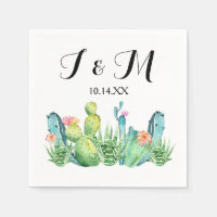 Blue Green Watercolor Cactus Party Cocktail Napkin