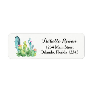 Blue Green Watercolor Cactus Return Address Label