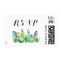 Blue Green Watercolor Cactus RSVP Postage Stamp