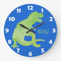 Blue Green Watercolor Dinosaur Personalized Kids Large Clock