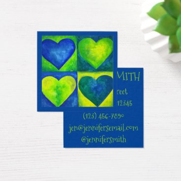 Professional Business Blue Green Watercolor Hearts Heart Art Love Square Business Card