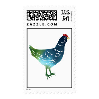 Blue & Green Watercolor Hen Postage