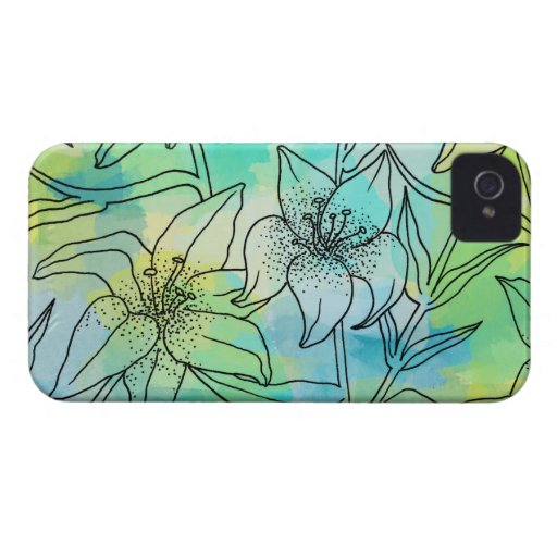 Blue & Green Watercolor Lilies iPhone 4 Case-Mate Cases