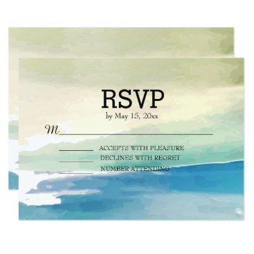 Beach Themed Blue Green Watercolor Ocean Beach Wedding RSVP Card