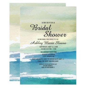 Beach Themed Blue Green Watercolor Ocean Waves Bridal Shower Card