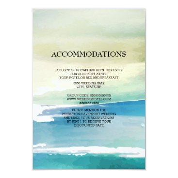 Beach Themed Blue Green Watercolor Ocean Wedding Accommodations Card